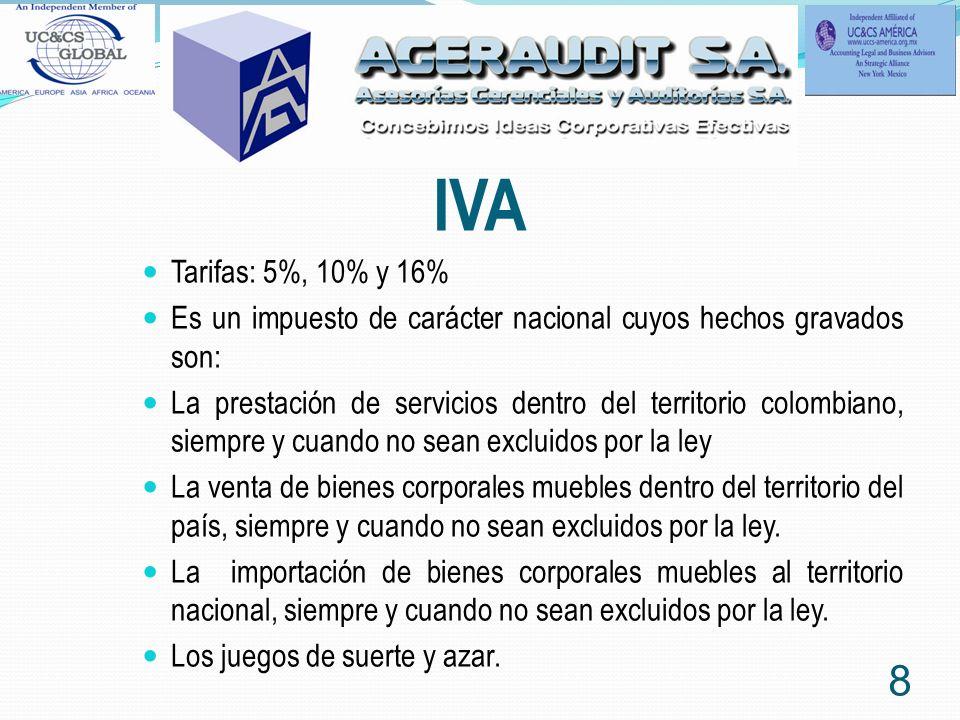 IVA Tarifas: 5%, 10% y 16% Es un impuesto de carácter nacional cuyos hechos gravados son: