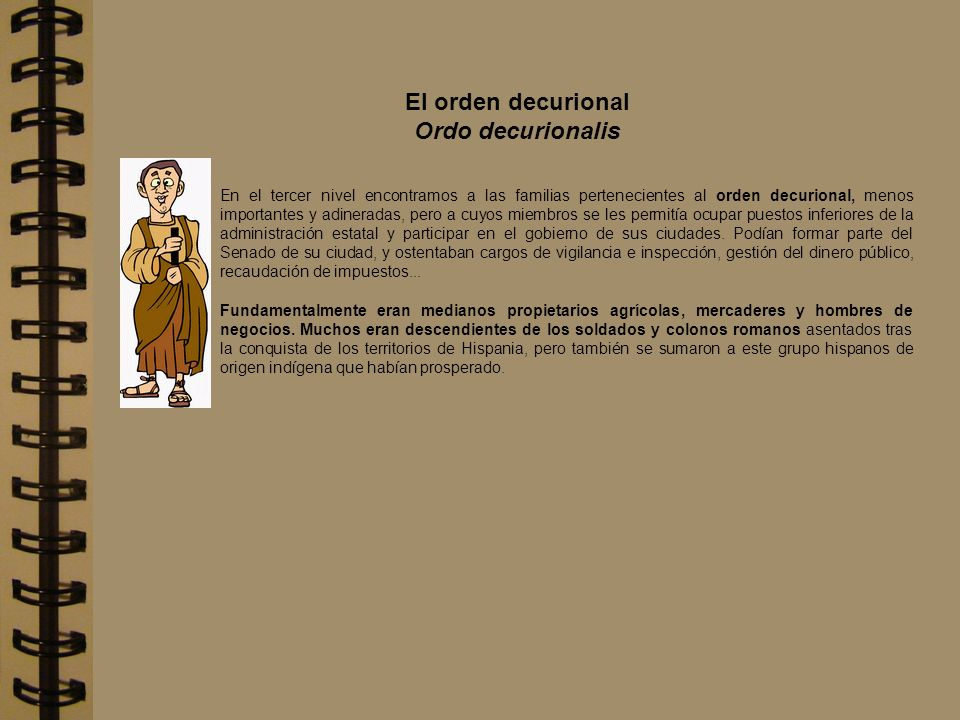 El orden decurional Ordo decurionalis