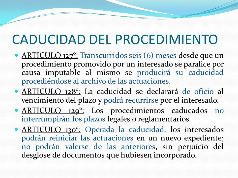 CADUCIDAD DEL PROCEDIMIENTO