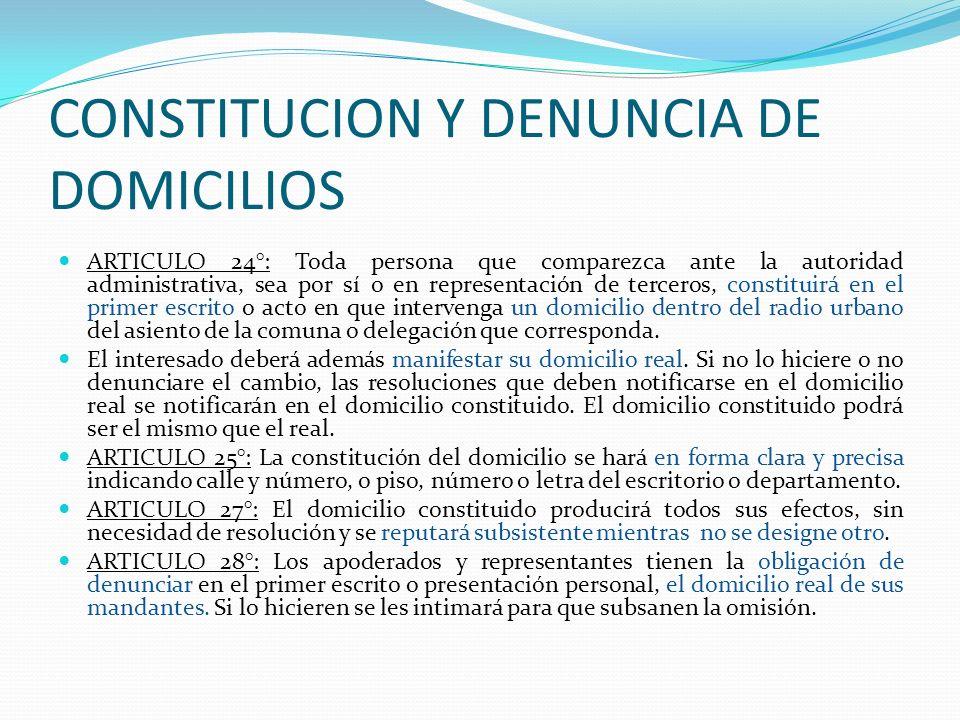 CONSTITUCION Y DENUNCIA DE DOMICILIOS