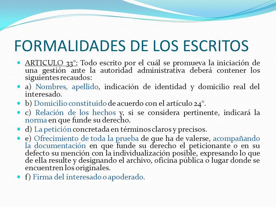 FORMALIDADES DE LOS ESCRITOS