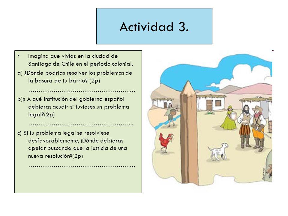 Actividad 3. Imagina que vivías en la ciudad de Santiago de Chile en el período colonial.