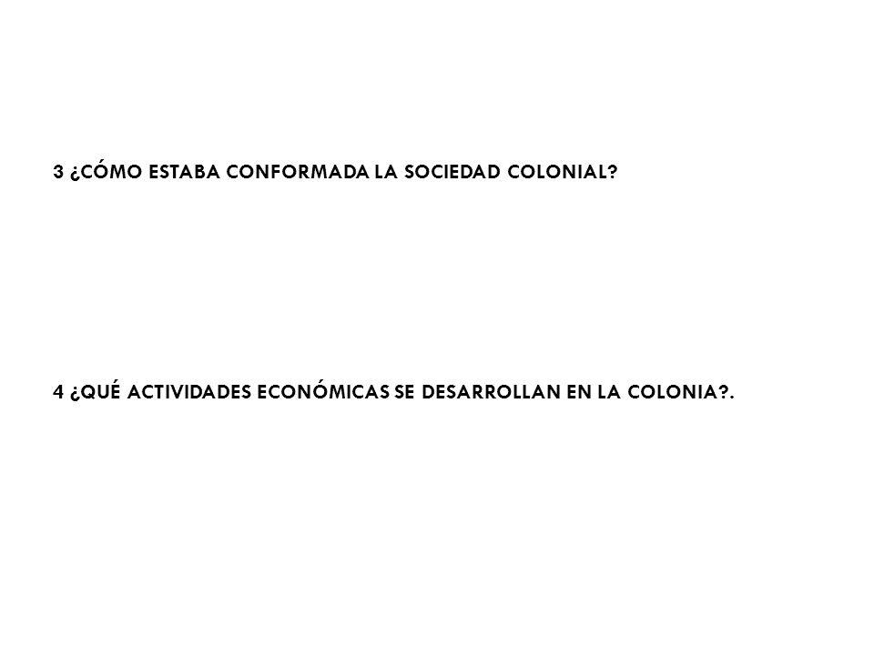 3 ¿CÓMO ESTABA CONFORMADA LA SOCIEDAD COLONIAL
