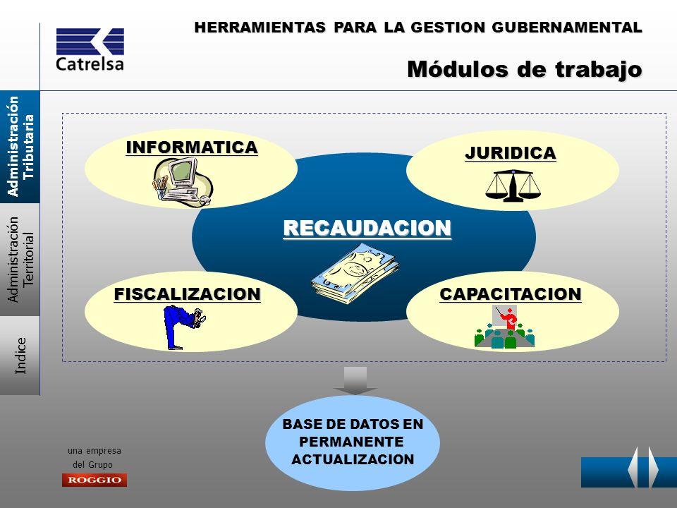 Módulos de trabajo RECAUDACION INFORMATICA JURIDICA FISCALIZACION