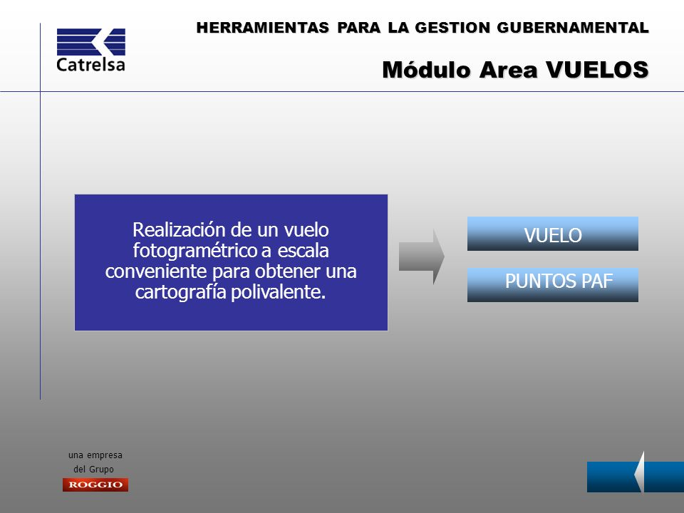 Módulo Area VUELOSRealización de un vuelo fotogramétrico a escala conveniente para obtener una cartografía polivalente.