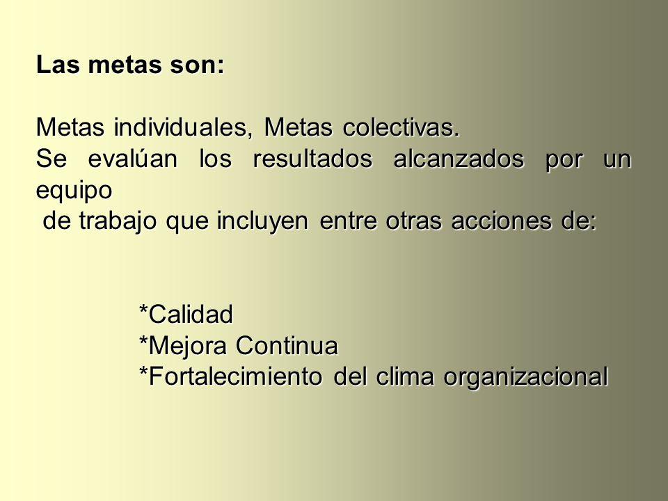 Las metas son: Metas individuales, Metas colectivas. Se evalúan los resultados alcanzados por un equipo.