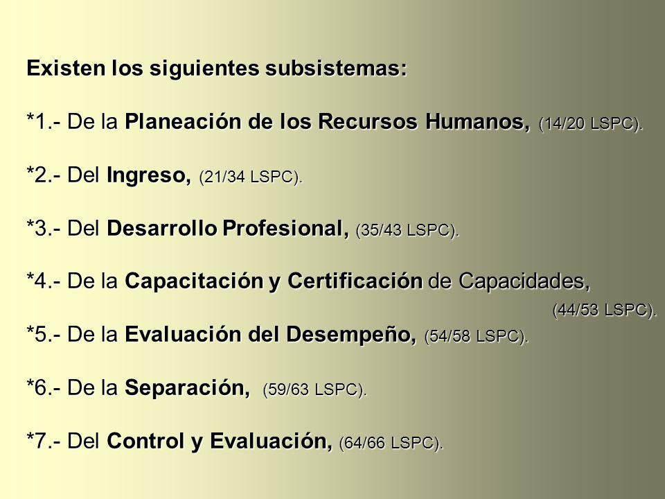 Existen los siguientes subsistemas: