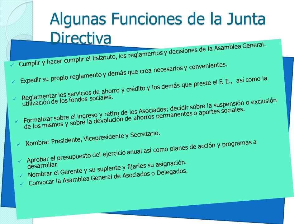 Algunas Funciones de la Junta Directiva