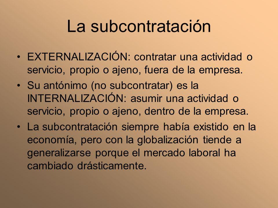 La subcontratación EXTERNALIZACIÓN: contratar una actividad o servicio, propio o ajeno, fuera de la empresa.