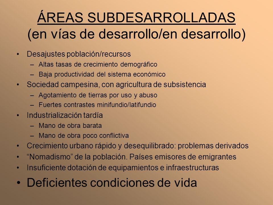 ÁREAS SUBDESARROLLADAS (en vías de desarrollo/en desarrollo)