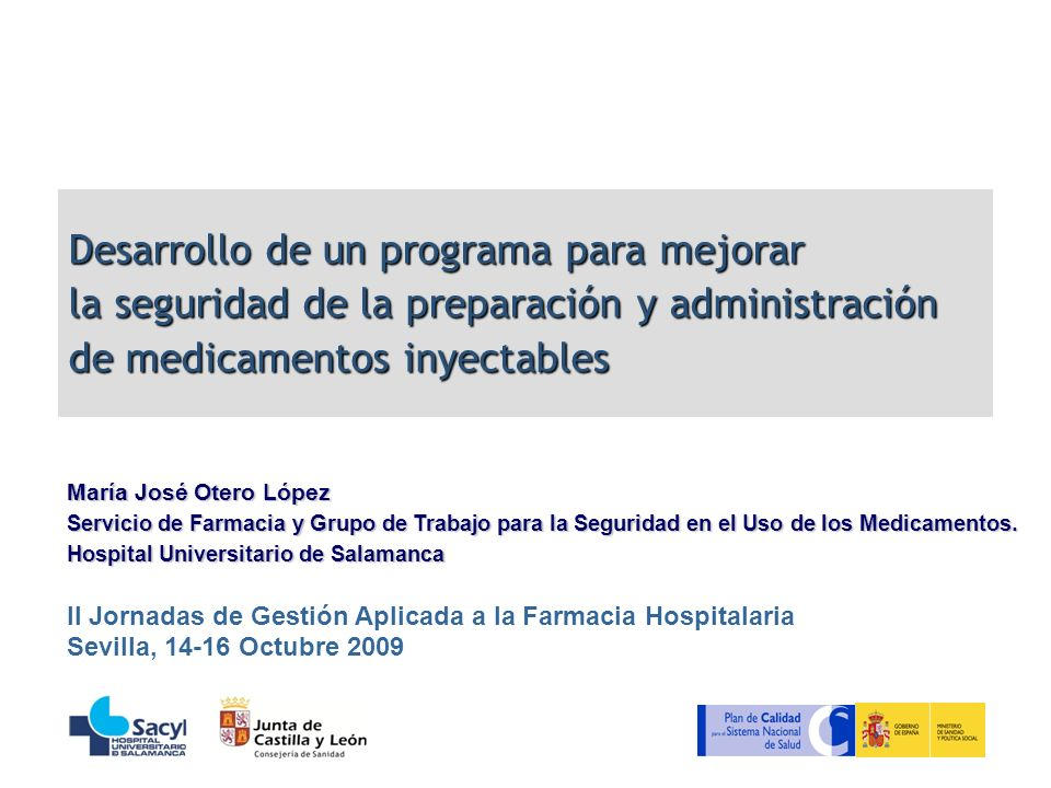 Desarrollo de un programa para mejorar la seguridad de la preparación y administración de medicamentos inyectables