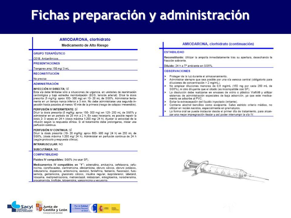 Fichas preparación y administración