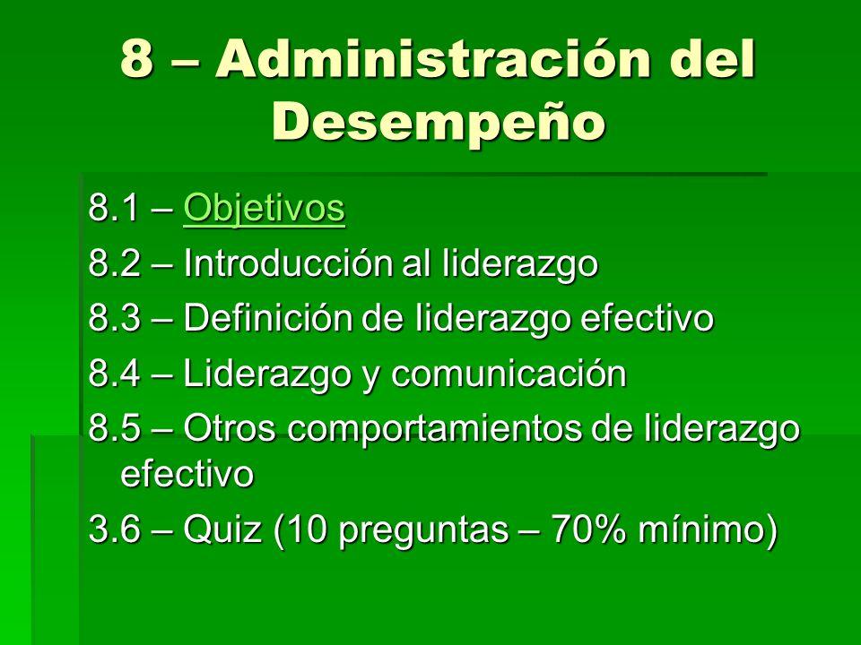 8 – Administración del Desempeño