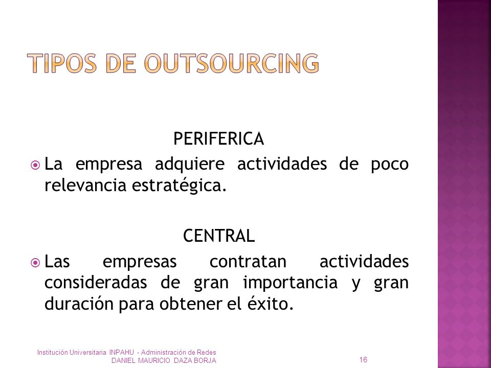 TIPOS DE OUTSOURCING PERIFERICA