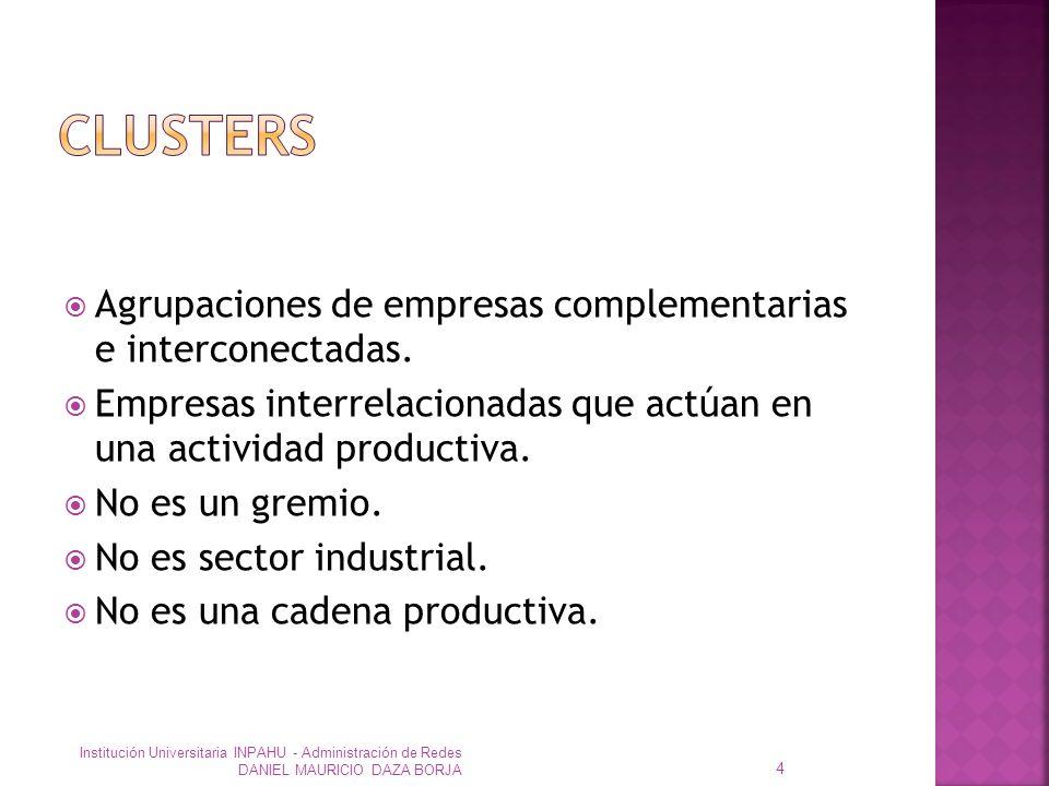 CLUSTERS Agrupaciones de empresas complementarias e interconectadas.