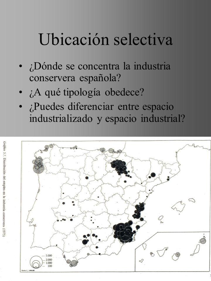 Ubicación selectiva ¿Dónde se concentra la industria conservera española ¿A qué tipología obedece