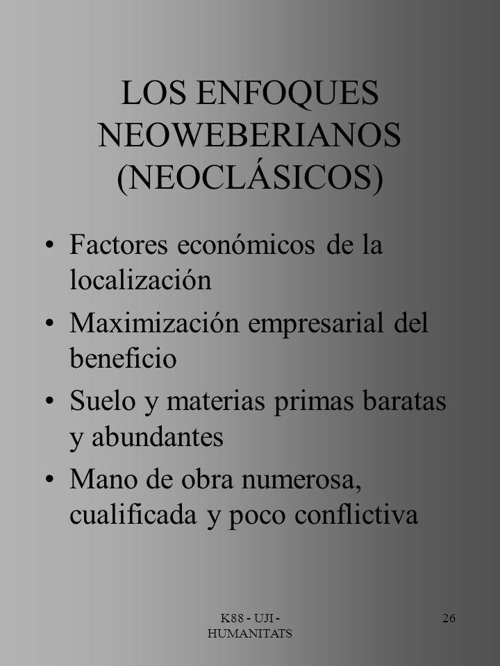 LOS ENFOQUES NEOWEBERIANOS (NEOCLÁSICOS)