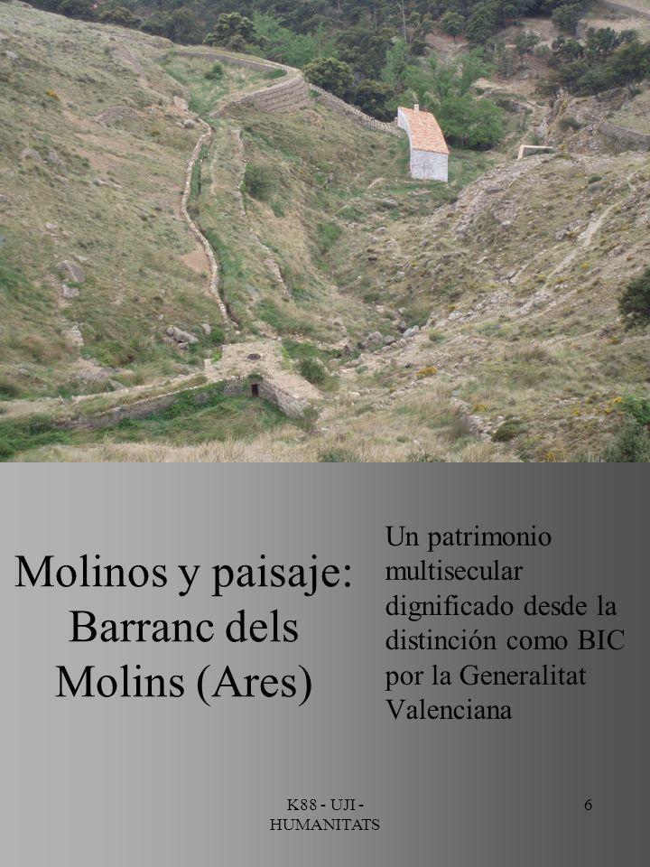 Molinos y paisaje: Barranc dels Molins (Ares)