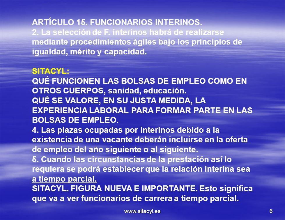 ARTÍCULO 15. FUNCIONARIOS INTERINOS.