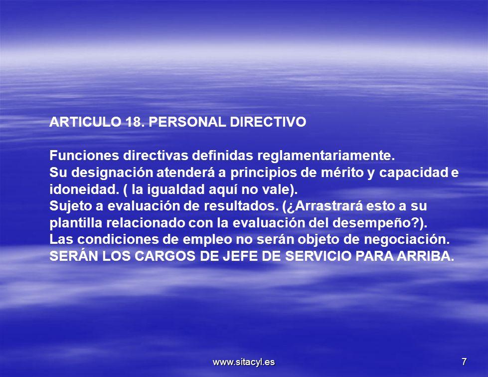 ARTICULO 18. PERSONAL DIRECTIVO