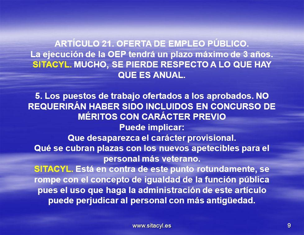 ARTÍCULO 21. OFERTA DE EMPLEO PÚBLICO.