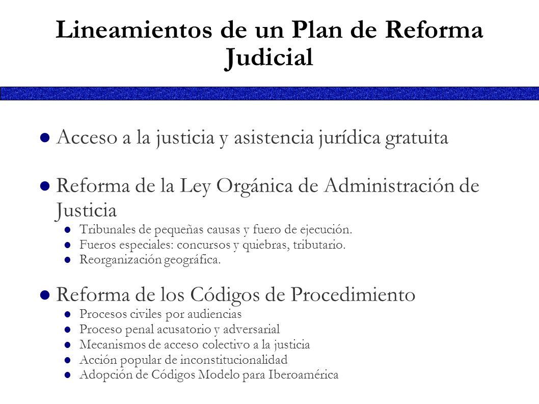 Lineamientos de un Plan de Reforma Judicial