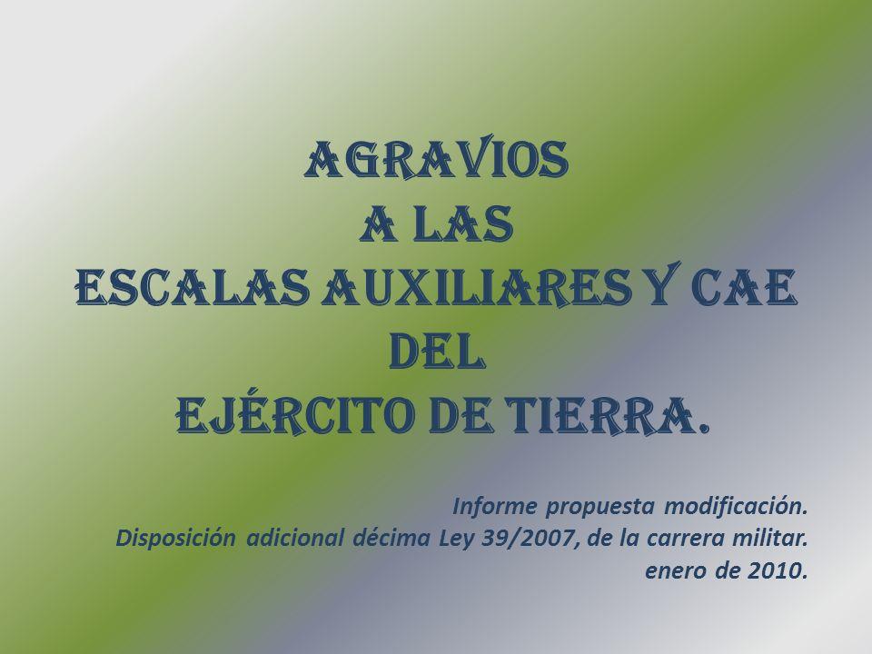AGRAVIOS A LAS ESCALAS AUXILIARES Y CAE DEL EJÉRCITO DE TIERRA.