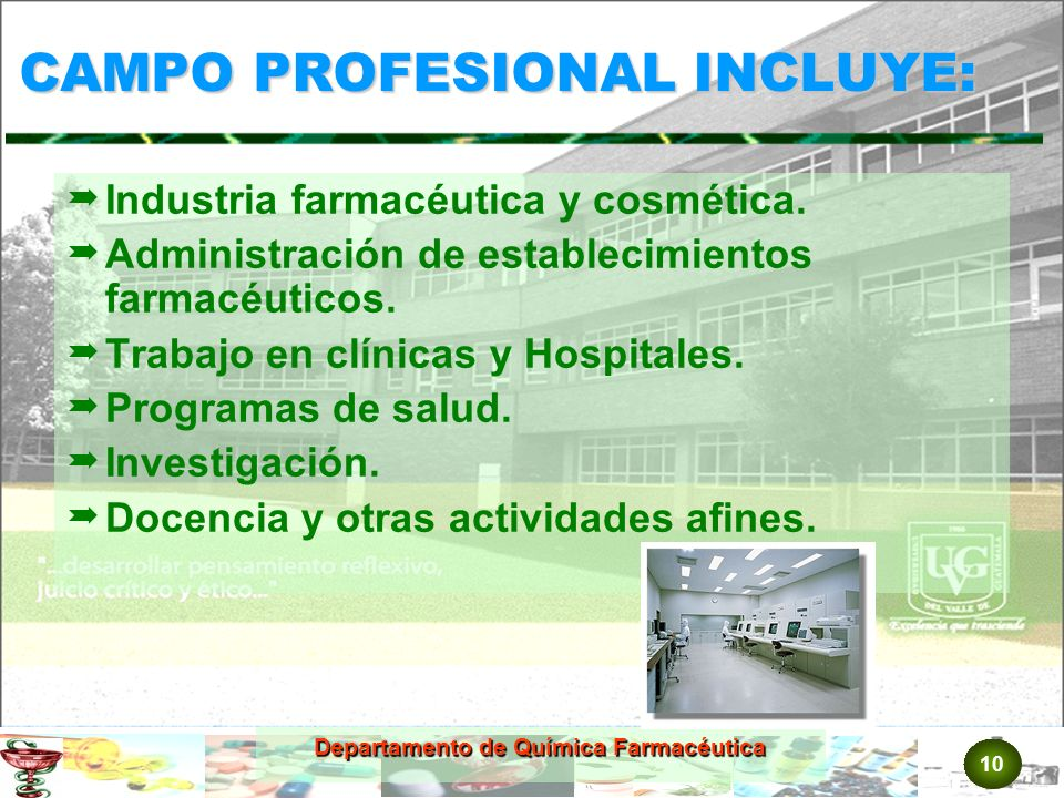 CAMPO PROFESIONAL INCLUYE: