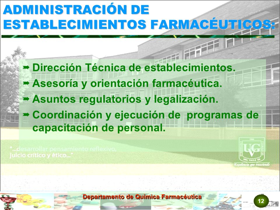 ADMINISTRACIÓN DE ESTABLECIMIENTOS FARMACÉUTICOS: