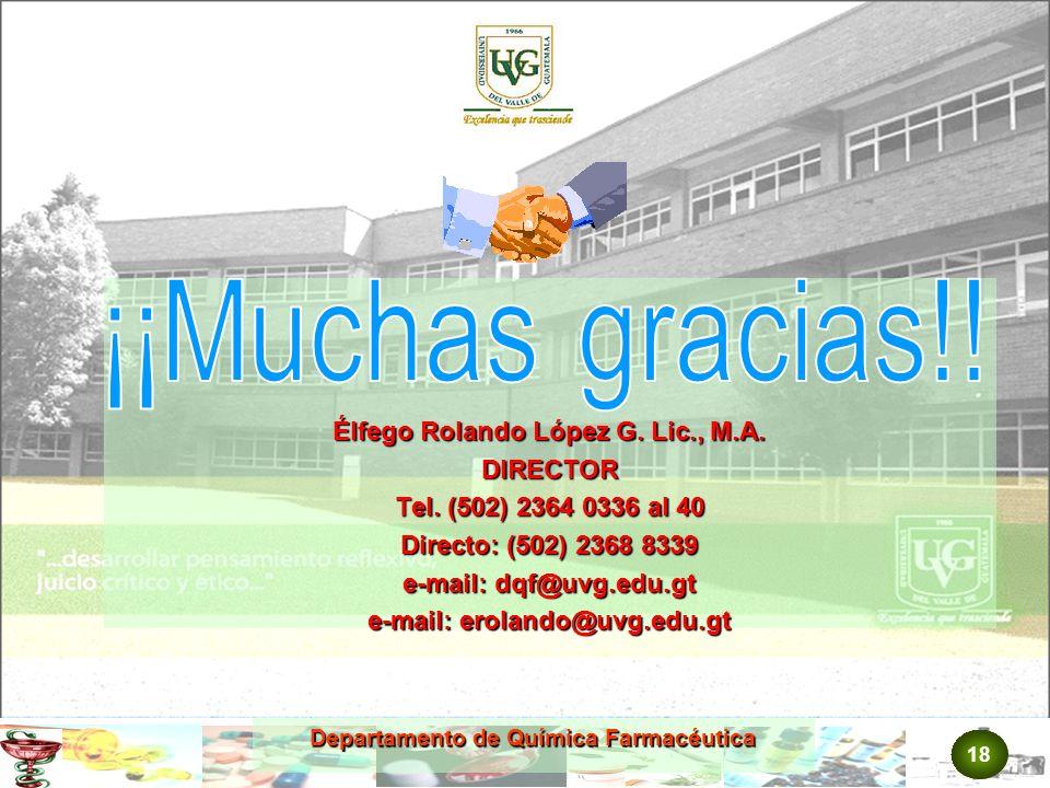 ¡¡Muchas gracias!! Élfego Rolando López G. Lic., M.A. DIRECTOR
