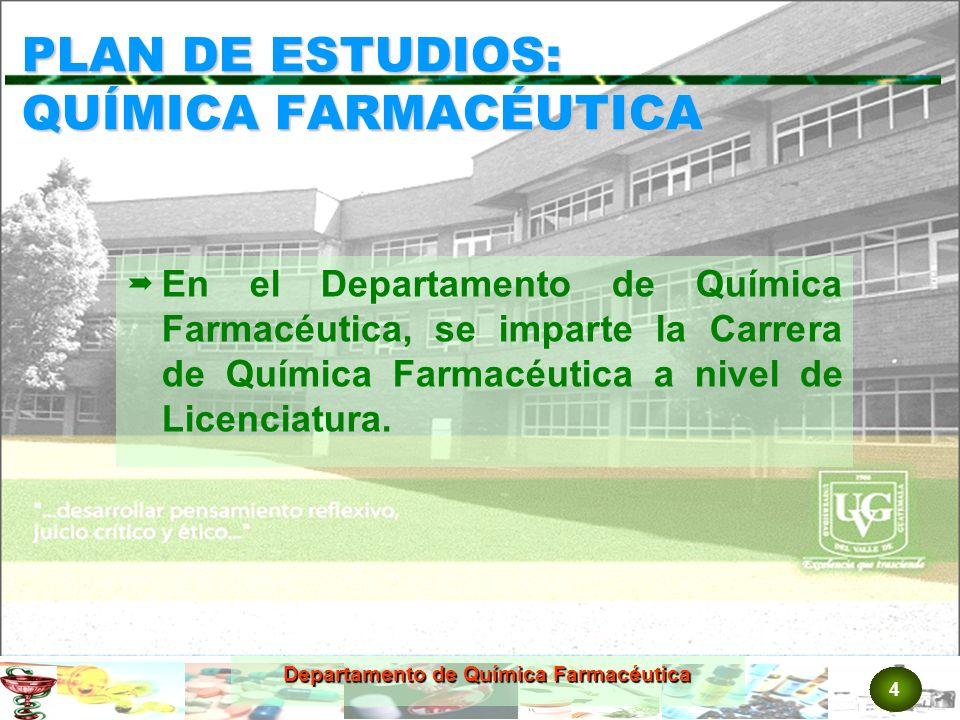 PLAN DE ESTUDIOS: QUÍMICA FARMACÉUTICA