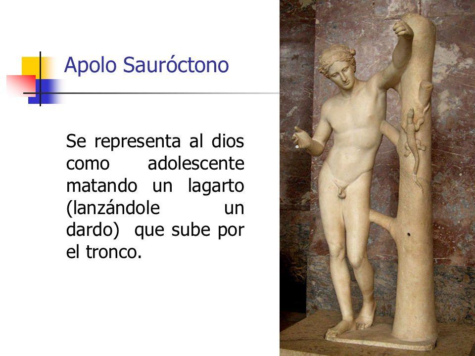 Apolo Sauróctono Se representa al dios como adolescente matando un lagarto (lanzándole un dardo) que sube por el tronco.