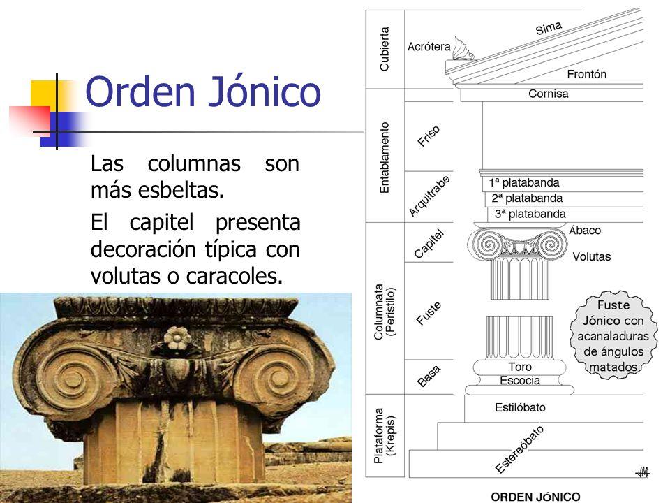 Orden Jónico Las columnas son más esbeltas.