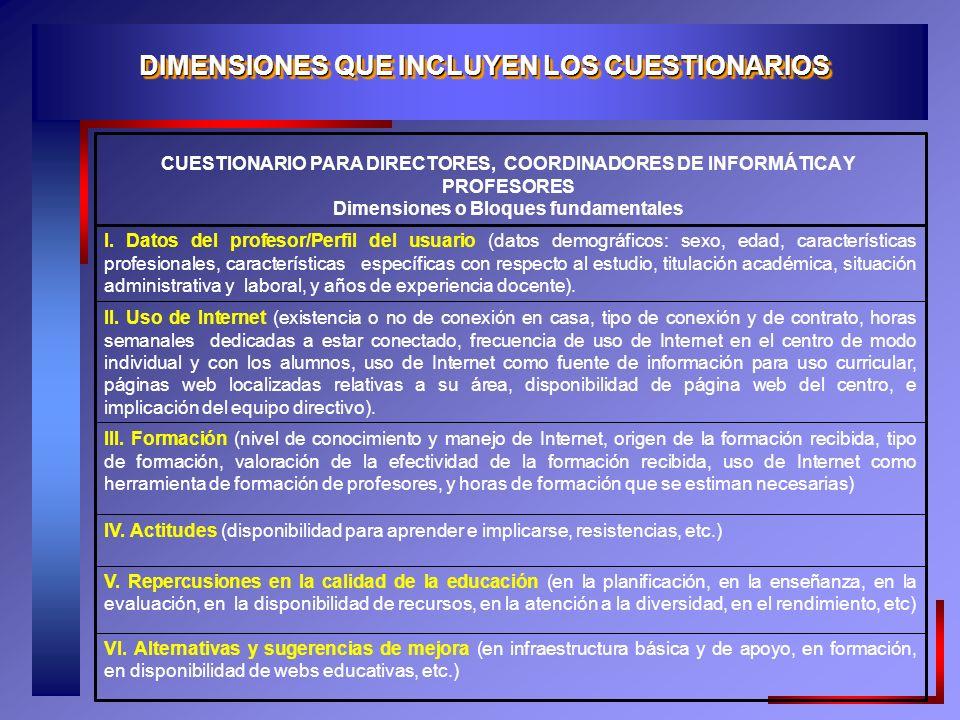 DIMENSIONES QUE INCLUYEN LOS CUESTIONARIOS
