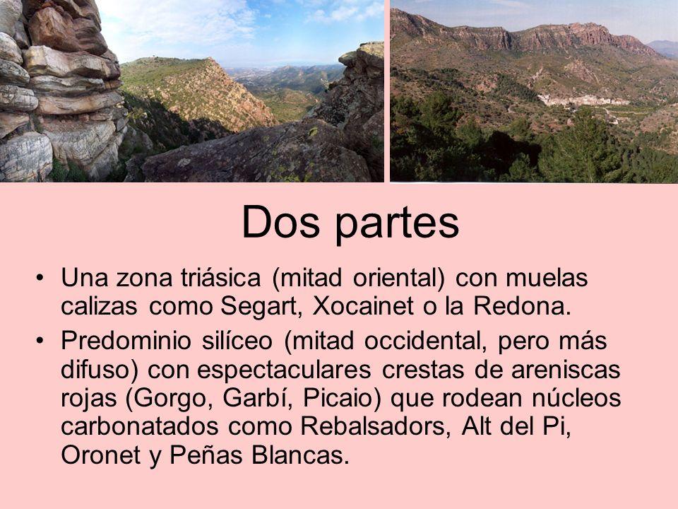 Dos partes Una zona triásica (mitad oriental) con muelas calizas como Segart, Xocainet o la Redona.