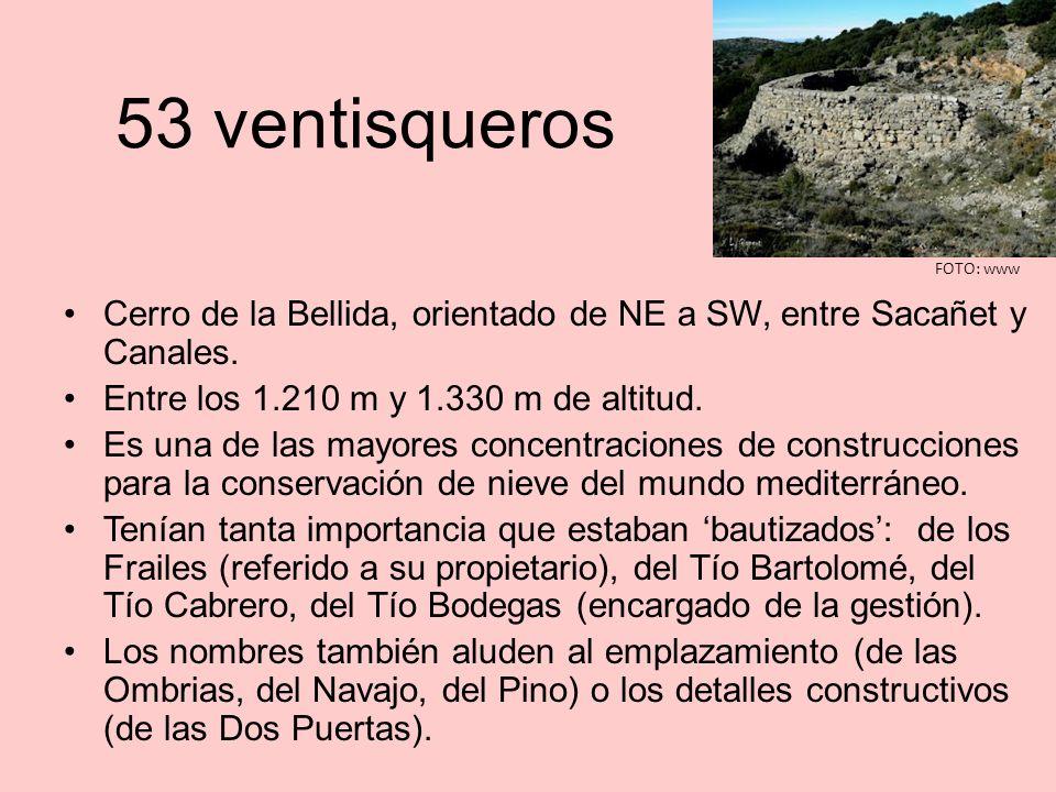 53 ventisqueros FOTO: www. Cerro de la Bellida, orientado de NE a SW, entre Sacañet y Canales. Entre los 1.210 m y 1.330 m de altitud.