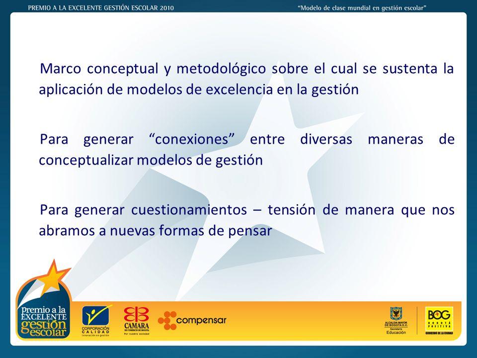 Marco conceptual y metodológico sobre el cual se sustenta la aplicación de modelos de excelencia en la gestión
