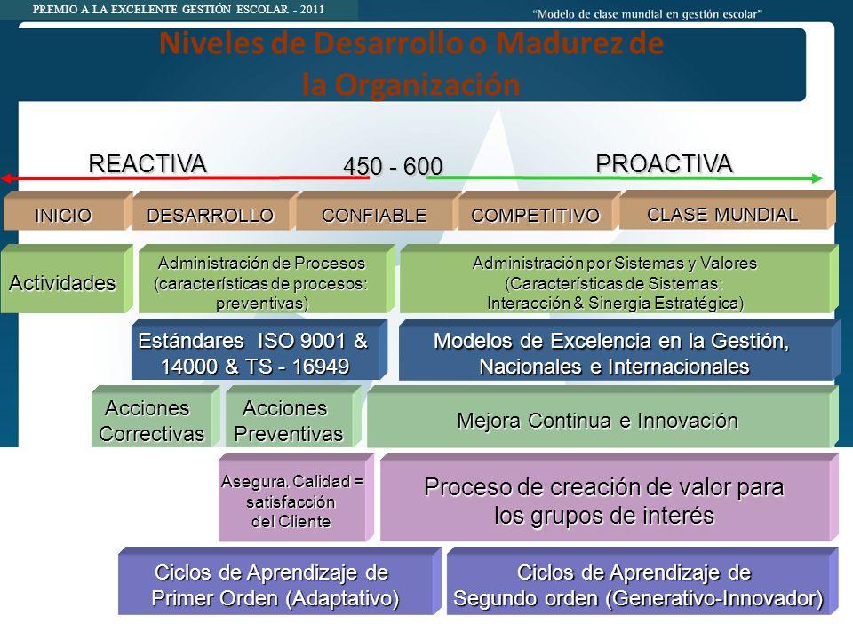 Niveles de Desarrollo o Madurez de la Organización