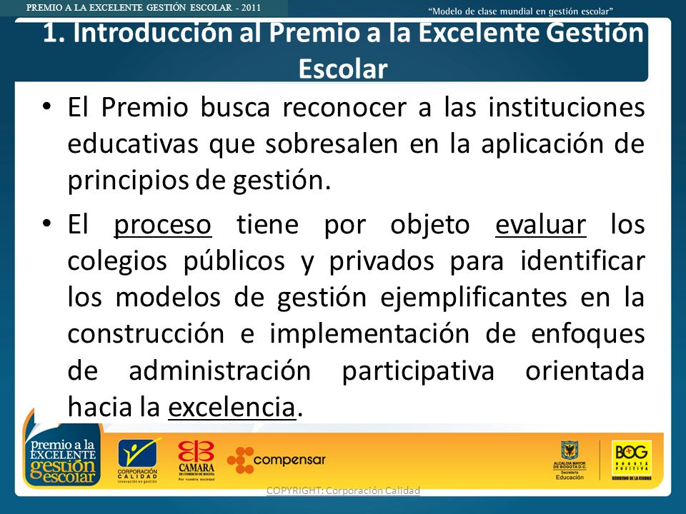 1. Introducción al Premio a la Excelente Gestión Escolar