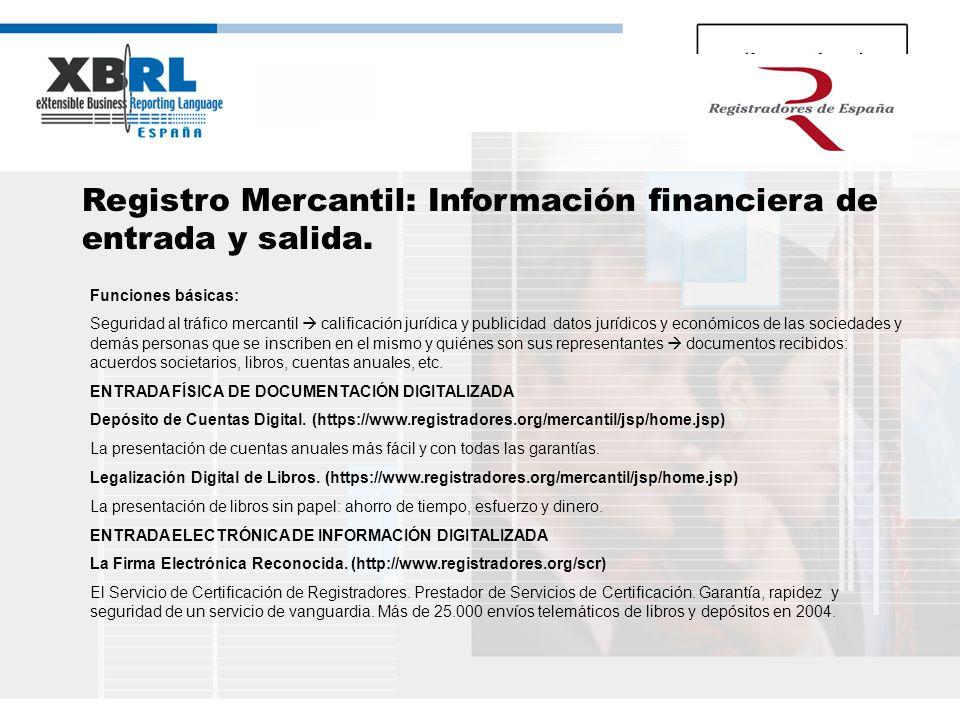 Registro Mercantil: Información financiera de entrada y salida.