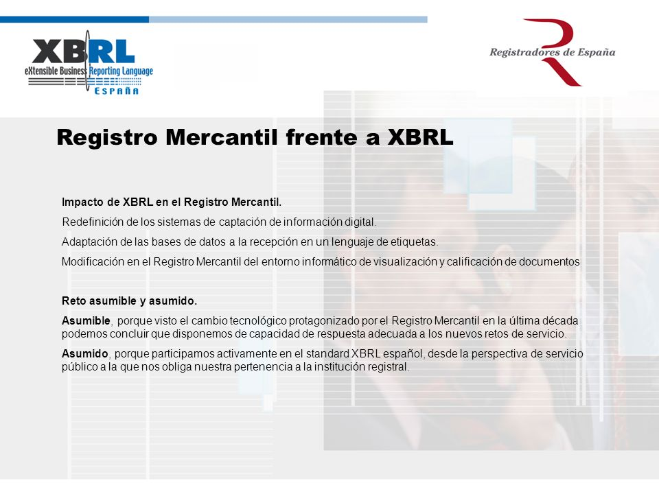 Registro Mercantil frente a XBRL