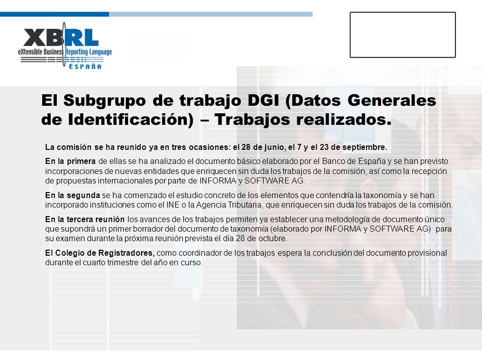 El Subgrupo de trabajo DGI (Datos Generales de Identificación) – Trabajos realizados.