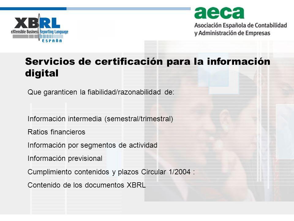 Servicios de certificación para la información digital
