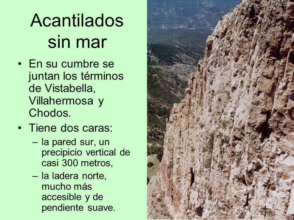 Acantilados sin mar En su cumbre se juntan los términos de Vistabella, Villahermosa y Chodos. Tiene dos caras: