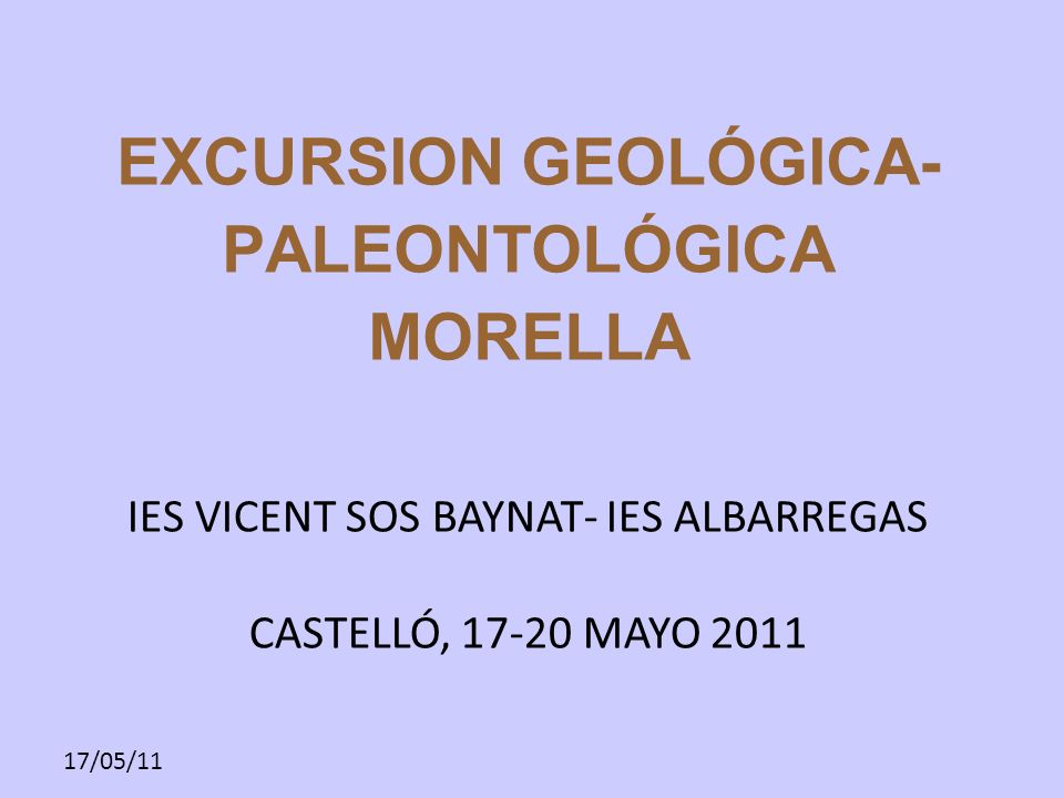 EXCURSION GEOLÓGICA-PALEONTOLÓGICA MORELLA