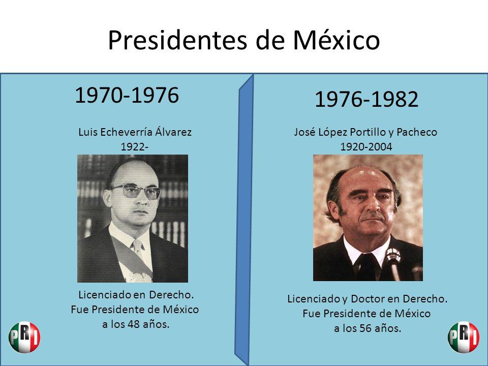 Presidentes de México 1970-1976 1976-1982 Luis Echeverría Álvarez