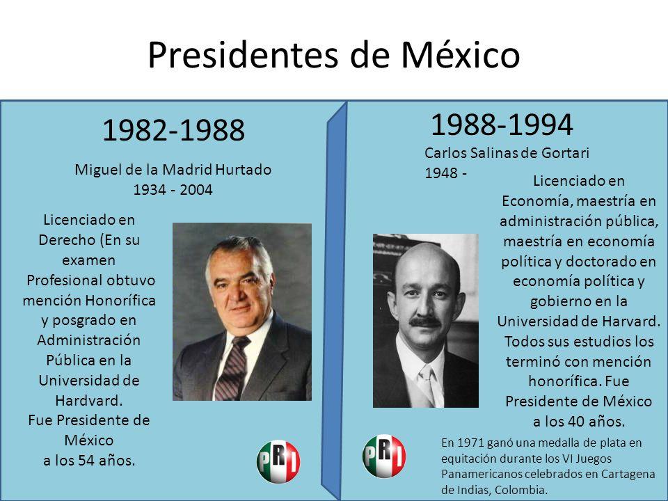 Presidentes de México 1988-1994 1982-1988 Carlos Salinas de Gortari