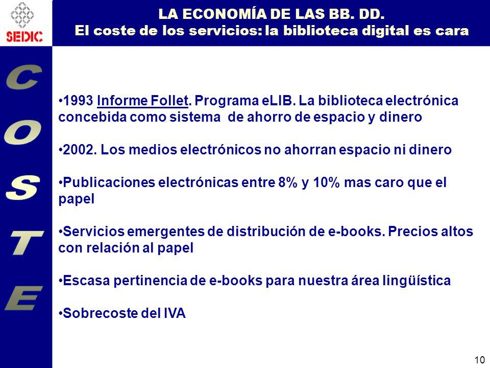 LA ECONOMÍA DE LAS BB. DD. El coste de los servicios: la biblioteca digital es cara