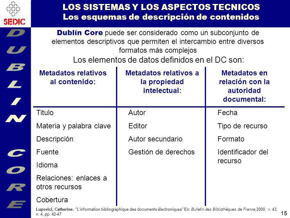 LOS SISTEMAS Y LOS ASPECTOS TECNICOS Los esquemas de descripción de contenidos
