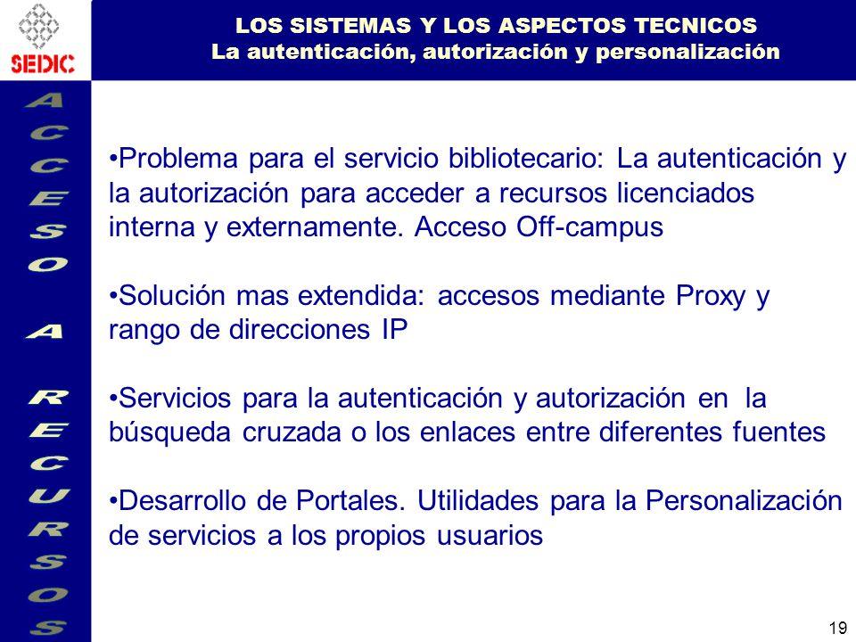LOS SISTEMAS Y LOS ASPECTOS TECNICOS La autenticación, autorización y personalización